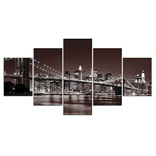 ZXYJJBCL Puente Blanco Negro sobre El Mar 5 Piezas Lienzo Arte De La Pared Arte De La Pared Lienzo Impresión Marco Imagen Pintura para Decoración del Hogar De La Habitación