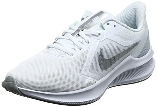 Nike Women's Downshifter 10 Running Shoe, White Metallic Silver Pure Platinum, 8