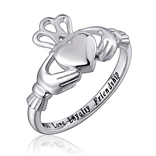 Flyow Fashion Jewelry 925 Sterling Silber Claddagh Ring Gravur Love Treue Freundschaft (57 (18.1))