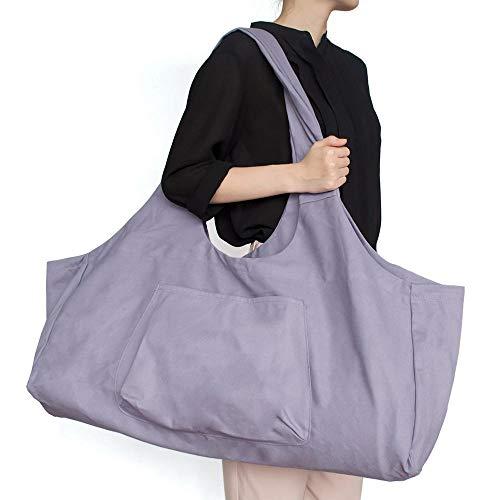 Sac de yoga zippé grand, sac fourre-tout Aolvo pour yoga avec bandoulière, sac en toile de coton 2 poches supplémentaires pour 2 tapis de yoga, 2 serviettes, clé, violet