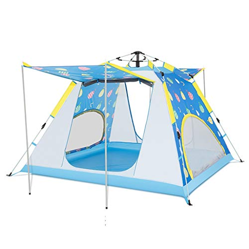 ZYM Frame Tents Automatic Pop Up Tent 4 Person with Sunscreen Coating Waterproof Instant Tent for Family Camping Hiking Dome Tents (Color : Blue)