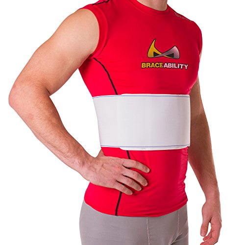 """BraceAbility Rib Injury Binder Belt   Men's Rib Cage Protector Wrap for Sore or Bruised Ribs Support, Sternum Injuries, Pulled Muscle Pain and Strain Treatment (Male - Fits 34""""-60"""" Chest)"""