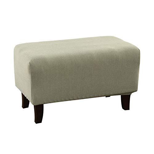 BANGSUN Funda otomana elástica para sofá con pedal y reposapiés, tela jacquard gruesa, color verde