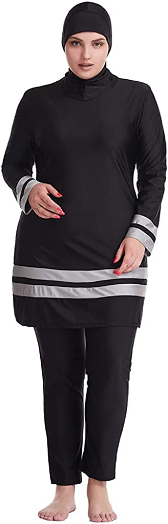 Wowdecor Muslim Swimsuits for Women Plus Size 2 Piece Fully Covered Swimsuits Burkini