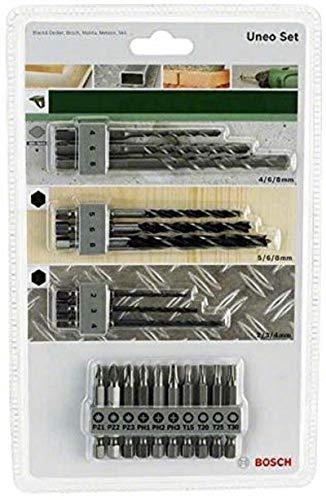 Bosch 19tlg. Uneo Mixed-Set (für Holz, Metall und Stein, Zubehör Bohrhammer)