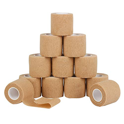 12 Pack Self Adherent Cohesive Wrap Bandages 2 Inches X 5 Yards,First Aid Tape, Elastic Self Adhesive Tape, Athletic, Sports wrap Tape, Bandage Wrap for Sports, Wrist, Skin Colour Athletic Tape