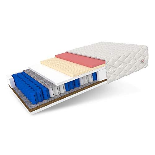 FDM Genua, materasso a molle insacchettate, 7 zone, Premium materasso in cocco e lattice termoplastico, grado di durezza H4 (duro), altezza 22 cm, rivestimento sfoderabile lavabile (120 x 200 cm)