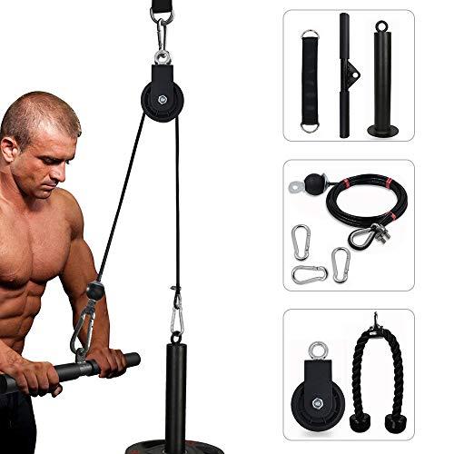 Bostar Polea Gimnasio, Maquina Fitness para Casa, Maquina de Musculacion Entrenamiento Cuerda Triceps con Accesorios Entrenamiento (Olímpico-Diámetro 4.8cm)