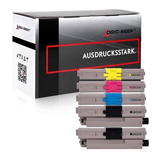 5 Logic-Seek Toner kompatibel mit Oki C532dn Oki MC532dn MC563dn C542-DN MC573-DN