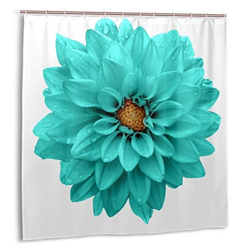 Gggo Duschvorhang, grün Cyan Türkis Blume Dahlie Makro Weiß Blau Schönheitspflanze Nassbad Vorhang Set mit Haken