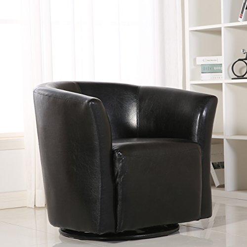 BELLEZE Contemporary Swivel Base Glider Barrel Upholstered Fabric ArmRest Pub Bar Round Chair, Black