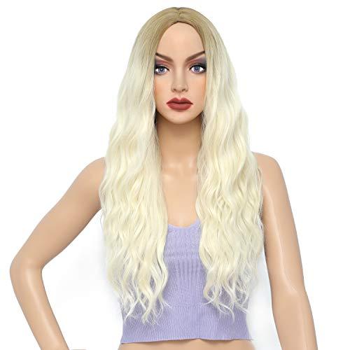 LANSE Pelucas rubias para mujeres moda largo ombre rubio rizado peluca con raíces marrones resistente al calor pelo sintético para hermosa señora Cosplay desgaste diario (JW-7001)