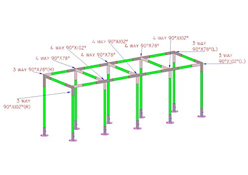 Simond Store Canopy Fittings KIT for 10'X40' Frame Slant ROOF CARPORT Tent Shade Greenhouse