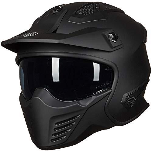 ILM Open Face Motorcycle 3/4 Half Helmet for Moped ATV Cruiser Scooter DOT (Matte Black, M)