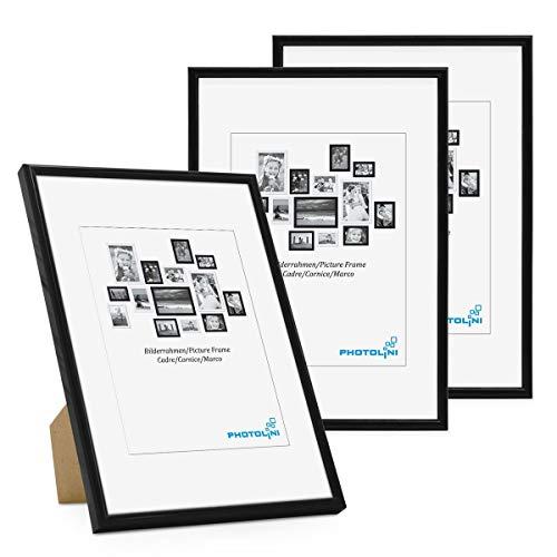 PHOTOLINI Bilderrahmen 3er Set 21x30 cm DIN A4 Modern Schwarz Kunststoff-Rahmen Schmal mit Glasscheibe und Zubehör