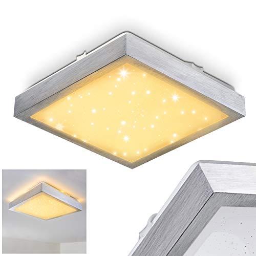 LED plafondlamp Sora, vierkante metalen lamp in zilver met sterrenhemeloptiek, 12 Watt, 900 Lumen, lichtkleur 3000 Kelvin (warm wit), IP44, ook geschikt voor de badkamer