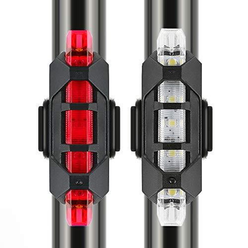 VJK USB wiederaufladbare Fahrradbeleuchtung vorne und hinten, 2 Stück Scooter-Licht, 5 LEDs, 4 Modi, vorne und hinten, Blinklicht, Sicherheitswarnlampe - 2