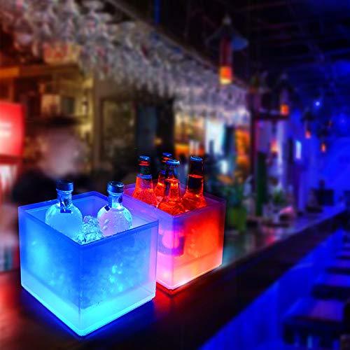 Suppyfly - Cubo de Hielo con luz LED, 5 L, Cambia de Color, Ideal para Fiestas o como Bar en el hogar, Double Champagne Bucket, 1