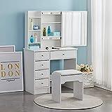 LEMROE Tocador con taburete y espejo, 4 cajones y estantes, espejo deslizante, tablero MDF, tocador para mujer, color blanco