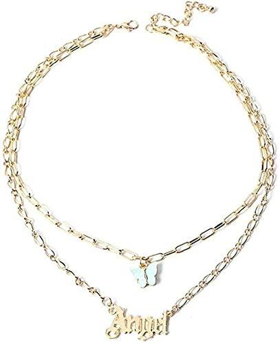 Collar acrílico Mariposa Colgante Multicapa Cadena Letras Colgantes Mujeres joyería Collar Largo joyería Regalo