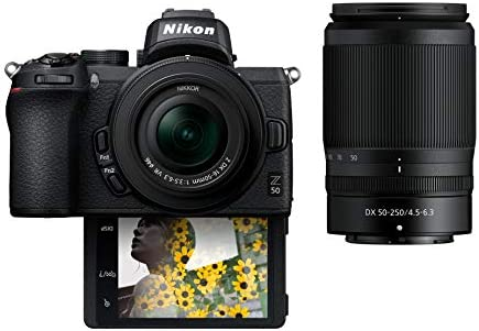 Nikon Z50 Compact Mirrorless Digital Camera with Flip Under Selfie Vlogger LCD 2 Zoom Lens Kit product image