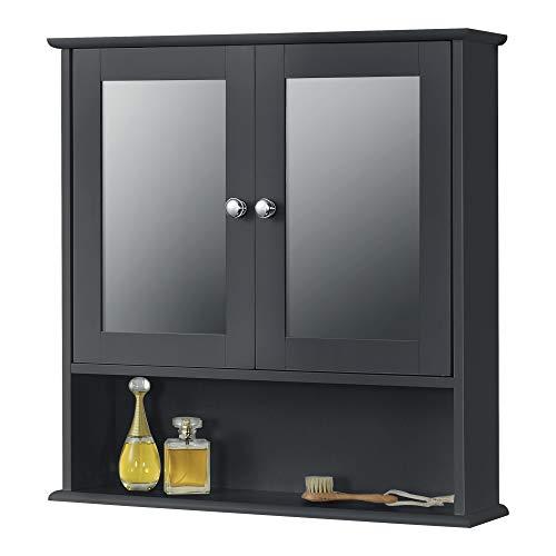 [en.casa] Mueble de Pared para Baño Linz 58 x 56 x 13 cm Armario Colgante con 2 Puertas con Espejo y un Estante Inferior Auxiliar de Baño MDF Gris Oscuro