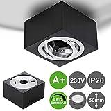 MILAN-S flacher (50 mm) Aufbaustrahler 5W dimmbar LED 230V eckig Schwarz gebürstet schwenkbar Deckenleuchte Strahler Deckenlampe Würfelleuchte Cube Warmweiß