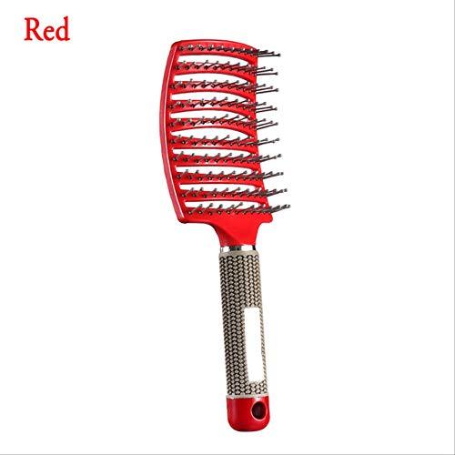 1pcs anti-statique courbes Curls cheveux raides peignes cuir chevelu Massager Dent large coiffure Styling Outils Salon Accessoires rouge
