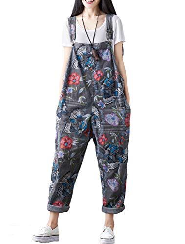Mallimoda Damen Weite Bein Latzhose Jumpsuits Denim Overalls Printed Baggy Hosen Art 1-Grau