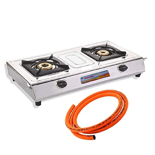 Surya Hotterr Stainless Steel 2 Burner Gas Stove with 6 Months...