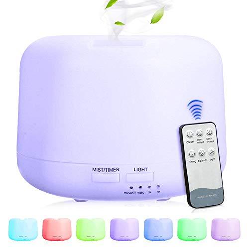 Phiraggit Aroma Diffuser, 300ml Diffuser Aromaterapia Humidificador Nebulizador ultrasónico Humidificador de habitación Difusor de aceites con 7 colores LED para sala, oficina, yoga, spa, etc.