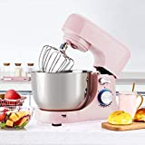 Küchenmaschine,Teigmaschine,1000W 10-Gang,Knetmaschine mit 4.5L Edelstahl-Rühlschüssel, Lebensmittelmixer, Brotmischer Maschine,Rosa