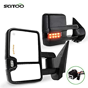 SCITOO Towing Mirrors Exterior Mirrors fit for Chevy for GMC 2007-2014 for Silverado/for Sierra Pair Rear View Mirrors with Power Control Heated Turn Signal Backup Light Manual Telescoping Folding