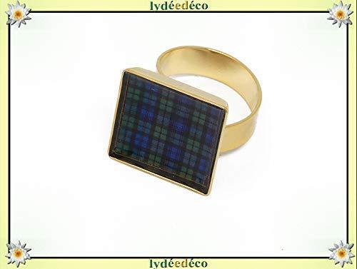 Harzring blau grün schwarze Uhr Tartan Schottland Tartan Outlander Gold verstellbar Quadrat 17mm Messing Gold 24K Feingold Geschenke Weihnachts zeremonie Hochzeit Gäste Muttertag