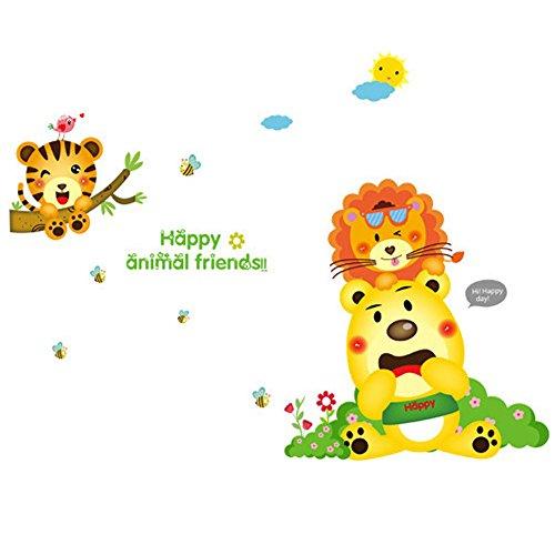 Winhappyhome Cartoon Lions Animals Friends Art Muraux Stickers pour Kids Chambre à Coucher Salon Theme Café-restaurante Décalcomanies Décor Amovibles