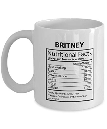 N\A Tazas Personalizadas con Nombres para Adultos - Britney Nutritional Facts - Tazas de Broma para el Mejor Amigo en Navidad - Taza Mediana Blanca