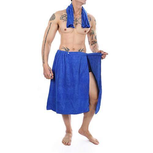 Lejafay Men's Adjustable Wrap Around Waist Towel Gym Cotton Bath Skirt Elastic Band Bath with Pocket Blue OneSize