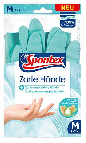 Spontex Zarte Hände, pflegende Haushaltshandschuhe mit sanftem Mandelöl, aus Naturkautschuklatex - Größe M, 1 Paar