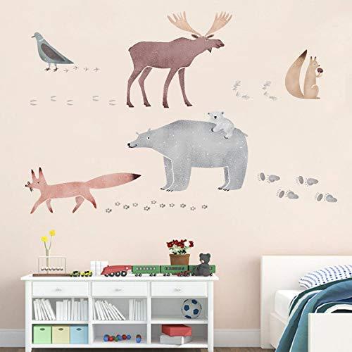 ufengke Pegatinas de Pared Animales de Acuarela Vinilos Adhesivas Pared Oso Ciervo Huellas Decorativos para Dormitorio Habitación Infantiles Sala de Estar