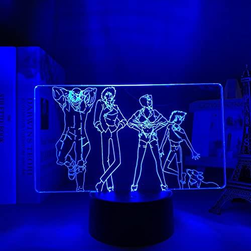 Anime luz Led Cowboy Bebop para dormitorio luz de noche decorativa niños regalo de cumpleaños Manga Cowboy Bebop lámpara 3d junto a la cama