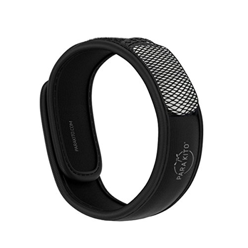 PARA'KITO Mosquito Insect & Bug Repellent Wristband - Waterproof, Outdoor Pest Repeller Bracelet w/Natural Essential Oils (Black)