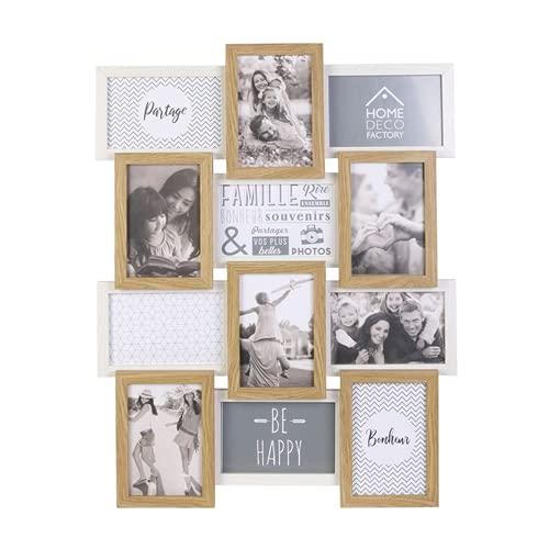 Home Deco Factory HD4218 - Cornice portafoto multipla, 12 foto, in legno Deco Souvenir, MDF Vetro, Beige Bianco, 44 x 3 x 58 cm