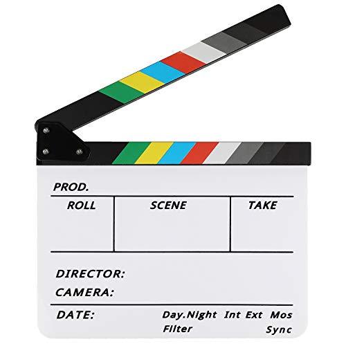 Zacro Filmklappe Hochwertige Regieklappe 30X25cm Acryl Bunt Directors Film für Filmen Video Requisiten Familiendekoration TV-Serie Studio live Werbung DIY-Video