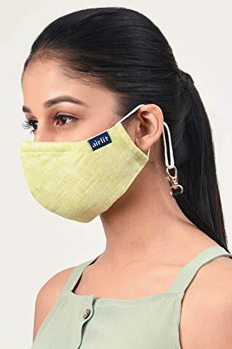 Airlit The My Mint - Máscara facial de algodón hecha a mano con Nosepin - Ropa tejida a mano, reutilizable, 4 capas transpirables, máscaras Coolit