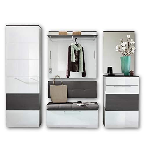RENO Garderoben Set Weiss Hochglanz / Grau - moderne Flurgarderobe für Ihren Eingangsbereich - 260 x 200 x 40 cm (B/H/T)
