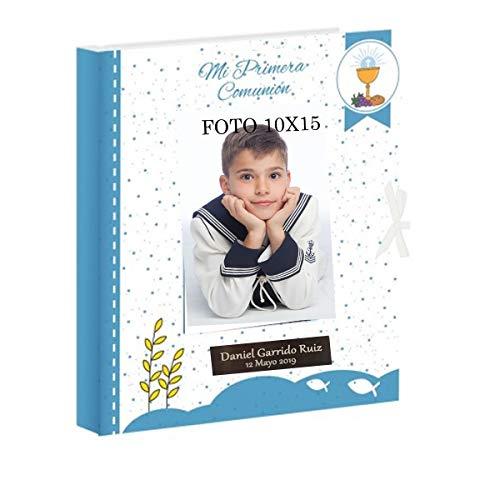 Libro de comunión para firmas y Fotos, Personalizado con Placa grabada con Nombre y Fecha (Azul PUNTITOS)