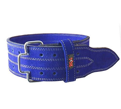 2Fit, cintura in pelle blu per sollevamento pesi, bodybuilding, supporto per palestra, allenamento (XL)