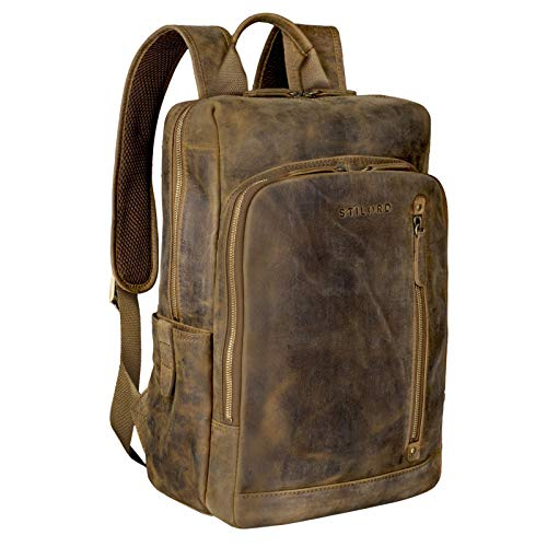 STILORD 'Johnson' Zaino Business Uomo Pelle Vintage Zaini per 13,3 pollici MacBook Laptop Daypack per Ufficio Zainetto Grande in Vera Pelle, Colore:marrone medio