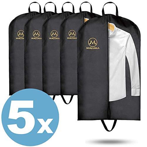 Maluma - Juego de bolsa para ropa con cremallera en color negro, bolsa de viaje para trajes, camisas y vestidos con asa de transporte y fieltro impermeable