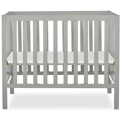 Dream On Me Edgewood 4-in-1 Convertible Mini Crib in Cool Grey